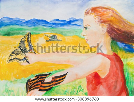 Cheerful girl with a butterfly. Watercolor - stock photo