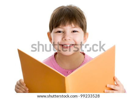 Cheerful girl  with book one white background