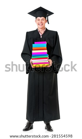 Cheerful graduate guy student in mantle with books, isolated on white background - stock photo