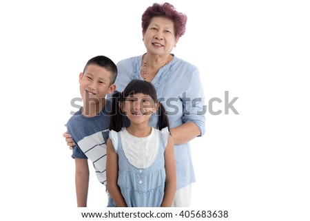 Cheerful grandmother and children portrait on white background.