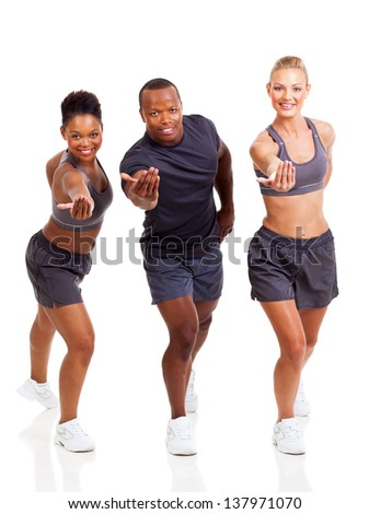 cheerful group fit people inviting to join exercise on white background - stock photo