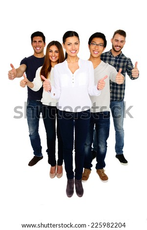 Cheerful group of people with thumbs up isolated on a white - stock photo