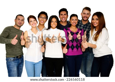 Cheerful group of people with thumbs up - isolated over white - stock photo
