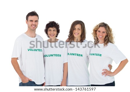 Cheerful group of volunteers on white background