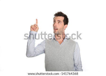 Cheerful guy showing text on white background