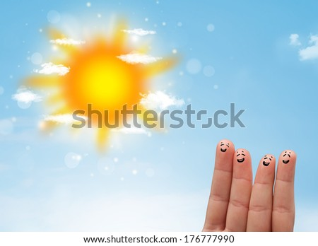 Cheerful happy smiling fingers with bright sun and clouds illustration - stock photo