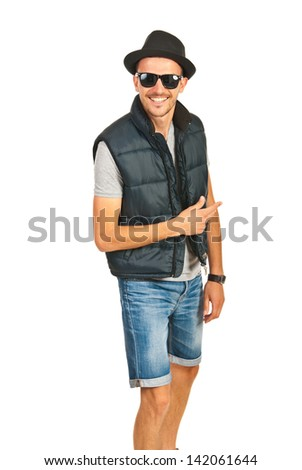 Cheerful hip hop man with hat and sunglasses isolated on white background