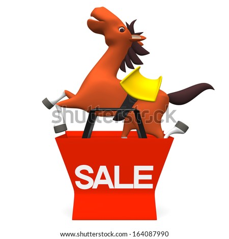 Cheerful Horse Jumped Out Of Sale Shopping Bag Front View. 3D render illustration For New Year's Day 2014 In Japan. Isolated on White. - stock photo