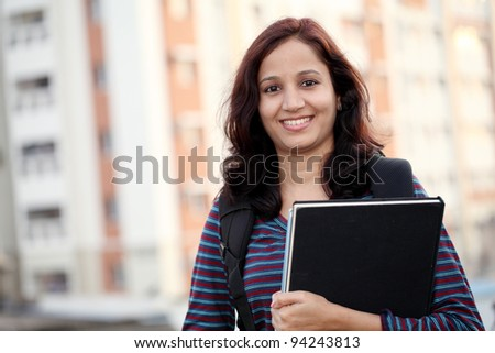 Cheerful Indian college student