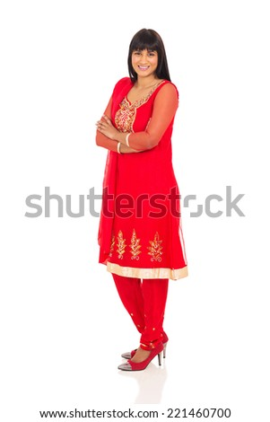 cheerful indian girl looking at the camera on white background - stock photo