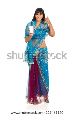 cheerful indian woman doing call me sign and holding smart phone - stock photo