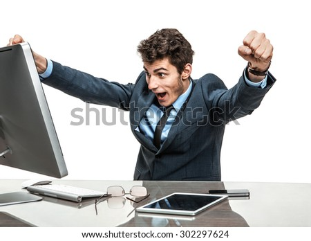 Cheerful is employer satisfied with his profit, income, earnings, gain, benefit, margin / modern businessman at the workplace working with computer - stock photo