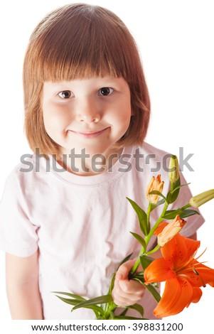 Cheerful kid holding orange lily isolated on white - stock photo