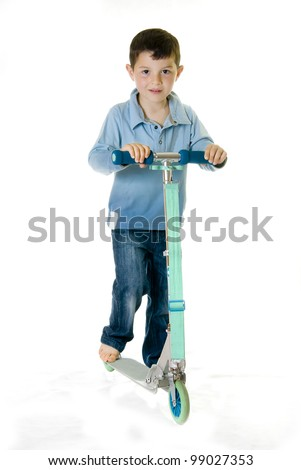 Cheerful kid skating on a white background