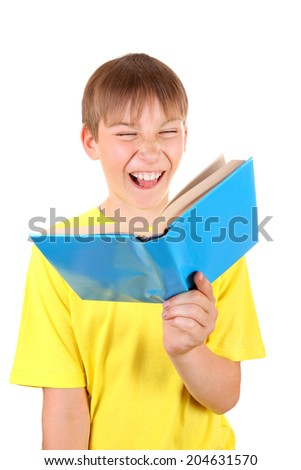 Cheerful Kid with a Book Isolated on the White Background - stock photo