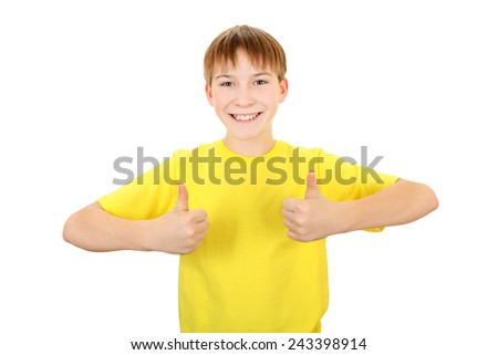 Cheerful Kid with OK Gesture Isolated on the White Background - stock photo