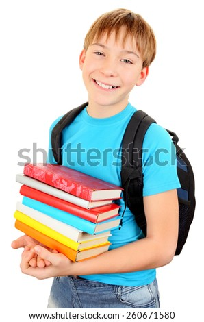 Cheerful Kid with the Books Isolated on the White Background - stock photo