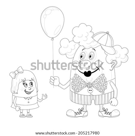 Cheerful kind circus clown gives a little girl a balloon, holiday illustration, funny cartoon character, black contour isolated on white background. - stock photo