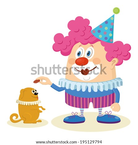Cheerful kind circus clown in colorful clothes with trained dog, holiday illustration, funny cartoon character isolated on white background. - stock photo