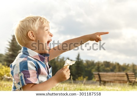Cheerful little boy eating ice cream in the park - stock photo