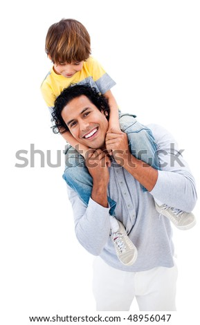 Cheerful little boy having fun with his father against a white background - stock photo