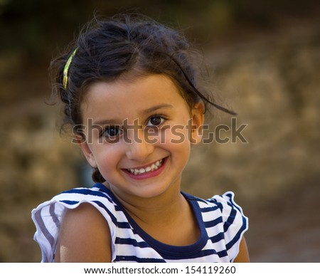 cheerful little girl and happy - stock photo