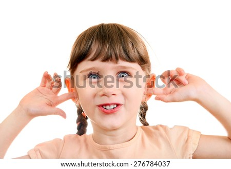 Cheerful Little Girl close the Ears Isolated on the White Background