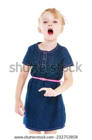 Cheerful little girl gesturing with his hands. Isolated on white background . - stock photo