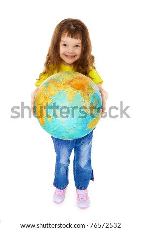Cheerful little girl gives us Globe isolated on white background - stock photo