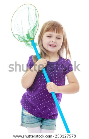 Cheerful little girl holding a butterfly net for catching butterflies. Happy childhood, fashion, autumnal mood concept. Isolated on white background - stock photo