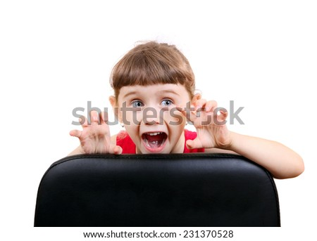 Cheerful Little Girl Isolated on the White Background - stock photo