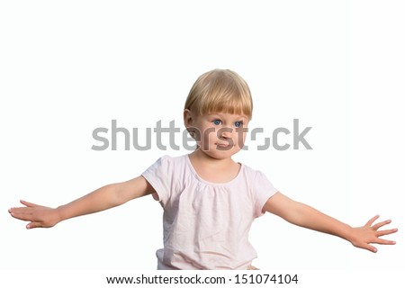 Cheerful little girl isolated on white, studio shot