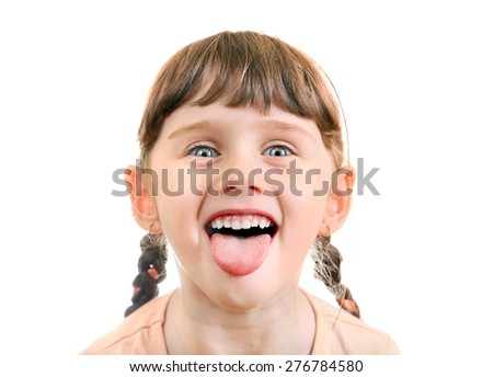 Cheerful Little Girl Portrait on the White Background - stock photo