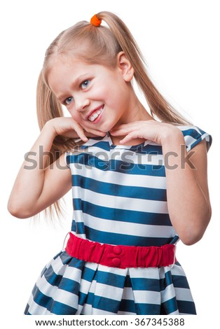 Cheerful little girl raised her palms up, isolated on white background - stock photo