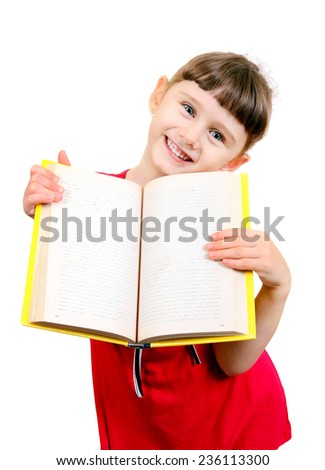 Cheerful Little Girl with a Book Isolated on the White Background - stock photo