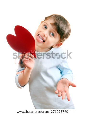 Cheerful Little Girl with a Heart Shape Isolated on the White Background - stock photo
