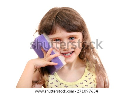 Cheerful Little Girl with Bath Sponge Isolated on the White Background