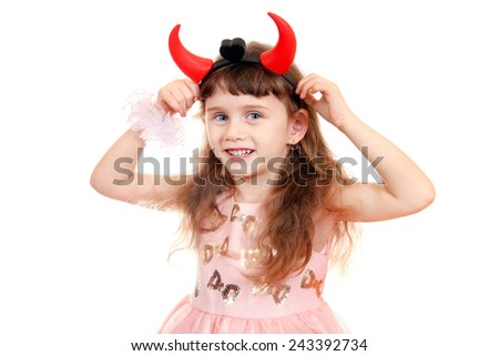 Cheerful Little Girl with Devil Horns on the White Background - stock photo