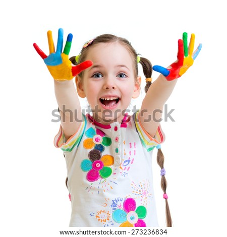cheerful  little girl with hands in paints isolated on white - stock photo