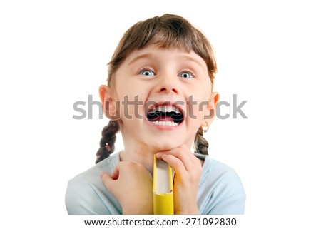 Cheerful Little Girl with the Book Isolated on the White Background - stock photo