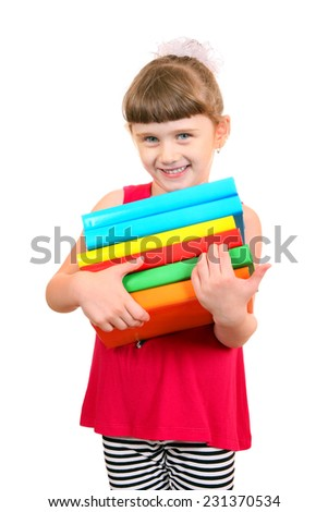 Cheerful Little Girl with the Books Isolated on the White Background