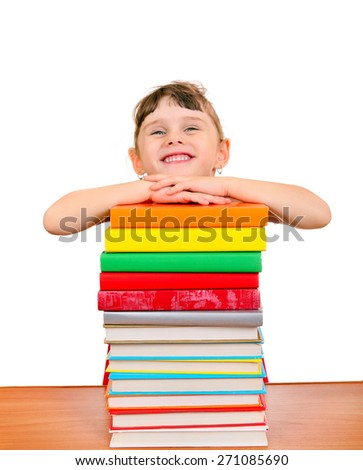 Cheerful Little Girl with the Books on the White Background - stock photo