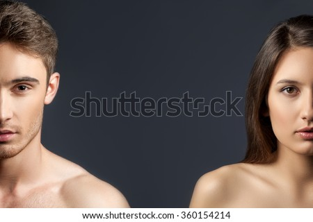 Cheerful loving couple is evincing their sexuality - stock photo