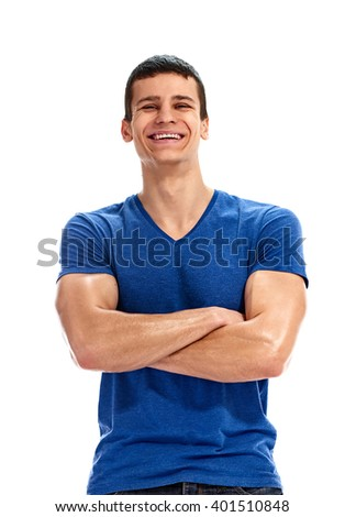 cheerful man blank blue t shirt
