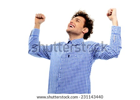 Cheerful man with raised hands up on a white background - stock photo
