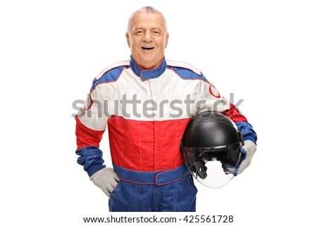 Cheerful mature car racer holding a helmet and smiling isolated on white background - stock photo