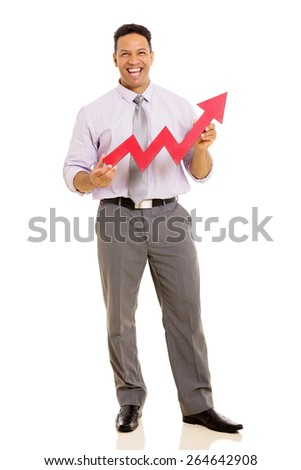 cheerful middle aged businessman with growth arrow - stock photo