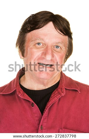 Cheerful middle aged male over white background