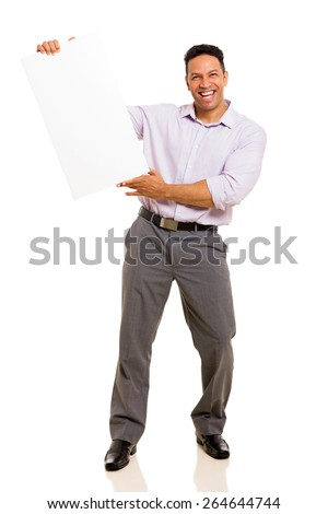 cheerful middle aged man holding blank board isolated on white background - stock photo