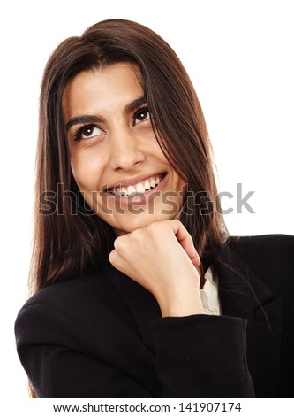 Cheerful Middle Eastern businesswoman isolated on white background, closeup - stock photo